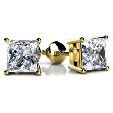 Forever Solitaire Diamond Earring Studs In 4 Prong set Princess Cut Diamonds.